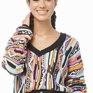 Forever 21 Grandpa Coogi Style Crop Sweater S